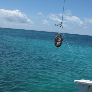 Einstein:  Aruba, E doing a backflip