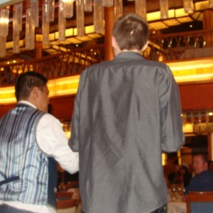 Ryan dances with the waiters
