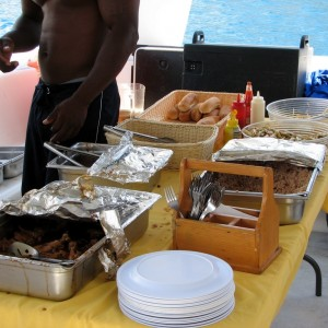 Our photo. cat to Nevis. lunch is served