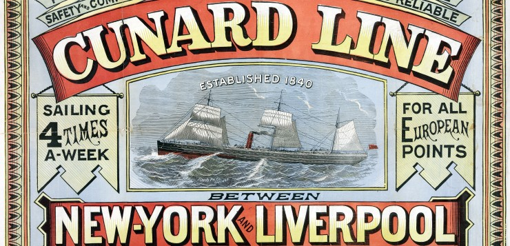 Cunard Line New York to Liverpool Poster in 1875