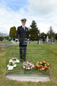Commodore Christopher Rynd at the Old Church Cemetery. Photo: Cunard (PRNewsFoto/Cunard)