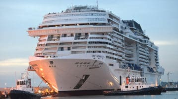 3. MSC Meraviglia finishing its transfer to the wet dock at sunrise at STX France in Saint Nazaire