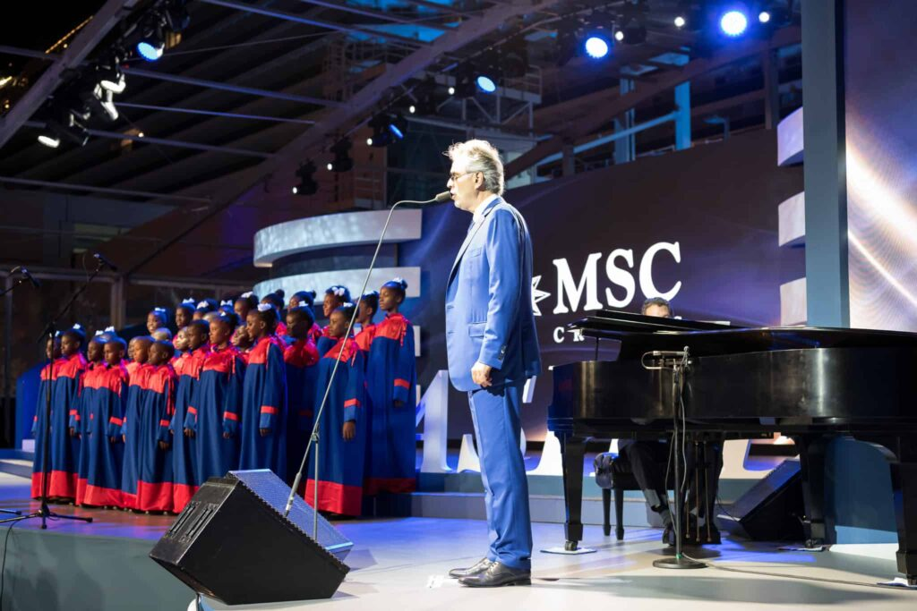 Andrea Bocelli took to the stage during the naming ceremony with 30 children from the Voices of Haiti.