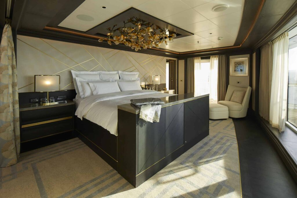 The master suite is home to a bed with a $200,000 mattress.